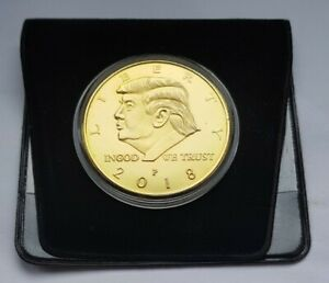 DONALD TRUMP 2018   GOLD PLATED COMMEMORATIVE MEDAL COIN   SIZE: 40MM   BARGAIN