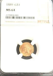 1889 GOLD UNITED STATES LIBERTY HEAD TYPE 1 $1 DOLLAR COIN NGC MINT STATE 64