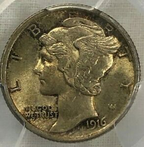 1916 PCGS MS63 FB SILVER MERCURY DIME 10C   TONED & LUSTROUS W/ FULL BANDS