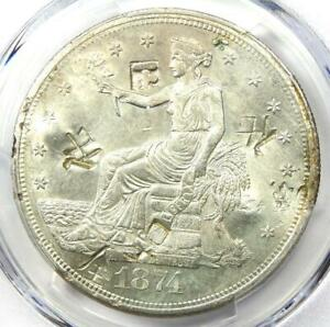 1874 S TRADE SILVER DOLLAR T$1 COIN   CERTIFIED PCGS AU DETAILS WITH CHOP MARKS