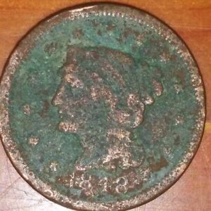 1848 LARGE CENT BRAIDED HAIR G/AG CORROSION FILLER DATE ENVIRONMENTAL DAMAGE
