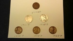 LOT OF 6 OLD US COINS JUNK DRAWER MISC.   1911 LIBERTY V 1904 INDIAN HEAD ETC.