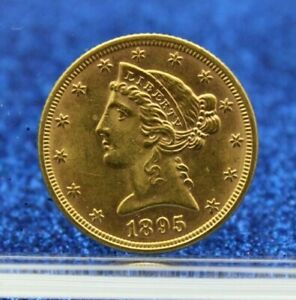 1895 USA GOLD FIVE DOLLAR  $5 HALF EAGLE UNCIRCULATED MS