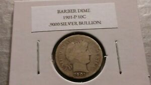 1901P 10C SILVER BARBER DIME AG 6229