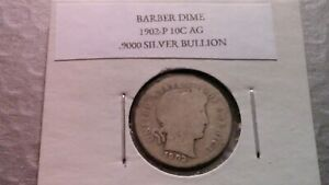 1902P 10C SILVER BARBER DIME AG 2528
