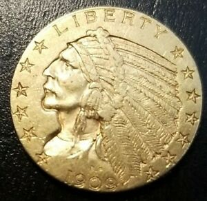 1909 D $5 GOLD INDIAN HEAD HALF EAGLE BEAUTIFUL INVESTMENT COIN LOOK