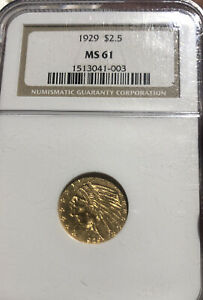 1929 $2.5 GOLD INDIAN HEAD QUATER EAGLE NGC MS61 PRICED   GRADE LIST SHARP COIN