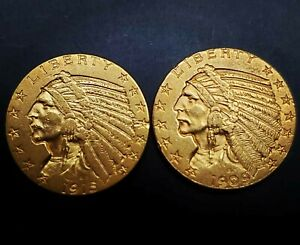 1909 D 1915 5 GOLD INDIAN COIN LOT 2