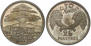 Click now to see the BUY IT NOW Price! LEBANON. 1929 AR ESSAI 25 PIASTRES. PCGS SP65. PARIS. CEDAR TREE KM E7; LEC. 34.