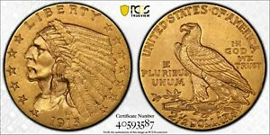 1915 $2.50 GOLD COIN AU 55 PCGS GRADED NATIVE AMERICAN CHIEF    INVESTMENT GRADE