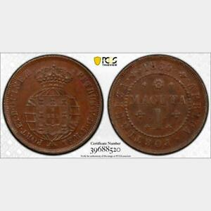 Click now to see the BUY IT NOW Price! 1860 ANGOLA MACUTA. PCGS MS 63 BN. KM 59
