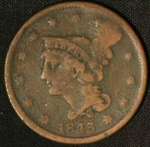 1843 BRAIDED HAIR LARGE CENT PETITE HEAD SMALL LETTERS    USA