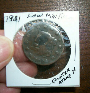 1821 MATRON HEAD LARGE CENT ONLY 389 000 MINTED   199 YEARS OLD