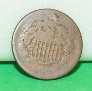 US 2 CENT PIECE COIN NICE SHAPE BUT DATE WORN OFF