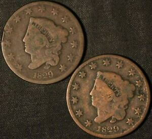 1829  2  CORONET HEAD LARGE CENT    USA