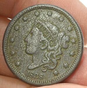 RAW 1838 LARGE CENT EASY TO READ DETAILS NO POLISH