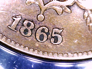 1865 FANCY 5 REPUNCHED DATE 2 CENT ERROR COIN EF40 FS 1301