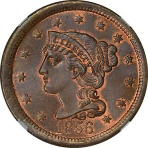 Click now to see the BUY IT NOW Price! 1856 1C BRAIDED HAIR CENT NGC MS66  RB CAC SLANTED 5
