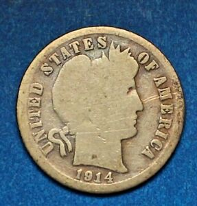 1914 S SILVER BARBER DIME  CIRCULATED