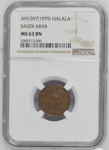 Click now to see the BUY IT NOW Price! SAUDI ARABIA 1 HALALA AH1307   1979    NGC MS 63 BN