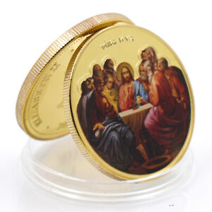 JESUS COMMEMORATIVE LUCKY SOUVENIR COIN 24K GOLD PLATED METAL COIN COLLECTIONS