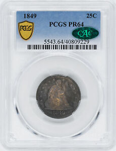 Click now to see the BUY IT NOW Price! 1849 LIBERTY SEATED 25C PCGS PR 64
