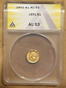 1851 LIBERTY HEAD GOLD DOLLAR TYPE 1 $1 ANACS AU 53 AUNC ROTATED DIE ERROR COIN