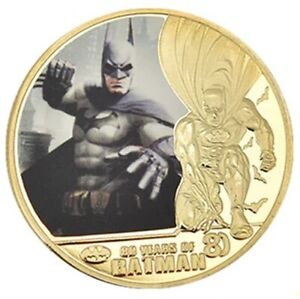BATMAN 80 YEARS ANNIVERSARY UNC COMMEMORATIVE GOLD PLATED COLORIZED 40MM COIN