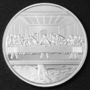 JESUS CHRIST   LAST SUPPER UNC SILVER PLATED COMMEMORATIVE 40MM UNUSUAL COIN