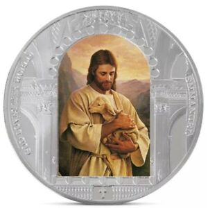 JESUS CHRIST   LAMB UNC COMMEMORATIVE SILVER PLATED COLORIZED 40MM COIN
