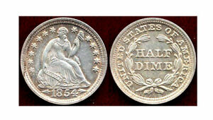 1854 STARS WITH ARROWS 5C  LIBERTY SEATED SILVER HALF DIME
