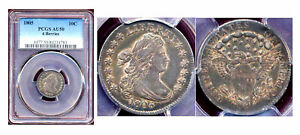 1805 10C 4 BERRIES PCGS AU50 TOING DRAPPED BUST DIME