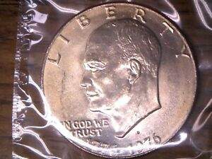 1976 D TYPE 2 $1.00 EISENHOWER DOLLAR UNCIRCULATED IN ORIGINAL MINT CELLO