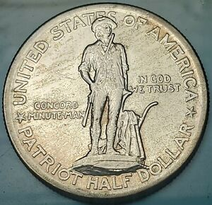 1925 50C LEXINGTON SILVER COMMEMORATIVE AU  FREE USA SHIPPING