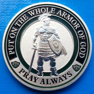 PRETORIAN ROMAN SOLDIER COMMEMORATIVE SILVER PLATED COLORIZED 40MM COIN