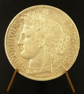MONNAIE ARGENT FRANCE 5 FRANCS CRS 1850 A FRENCH SILVER COIN XIX TH