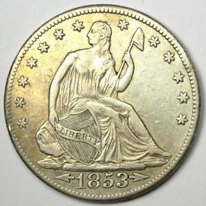 1853 O ARROWS AND RAYS SEATED LIBERTY HALF DOLLAR 50C   XF DETAILS    COIN