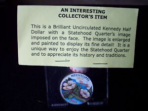COLORIZED KENNEDY HALF DOLLAR PAINTED MISSISSIPPI STATE QUARTER 25 CENT COIN