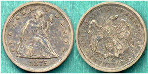 1875 S SEATED 20C NEVER DIPPED OR CLEANED  TWENTY CENT