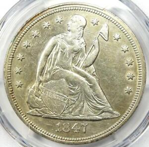 1847 SEATED LIBERTY SILVER DOLLAR $1   CERTIFIED PCGS XF DETAIL  EF     COIN