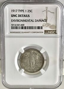 1917 TYPE 1 25C STANDING LIBERTY QUARTER DOLLAR NGC UNCIRCULATED DETAILS