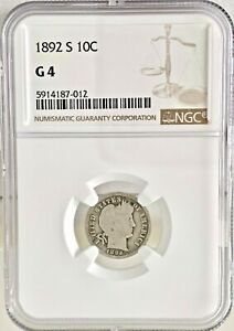 1892 S 10C BARBER DIME NGC G 4