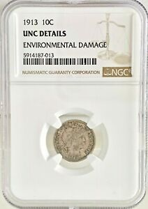 1913 10C BARBER DIME NGC UNCIRCULATED DETAILS