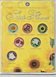 US COMMEMORATIVE GALLERY COLORIZED STATE FLOWER QUARTER DOLLAR COLLECTION  6