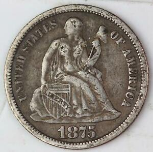 1875 SEATED LIBERTY DIME   NICE DETAILS    DOUBLEJCOINS    111447