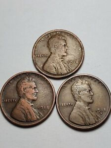 1918 P D & S LINCOLN WHEAT PENNIES  NICE COINS.