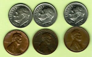 LOT OF 3 DIMES & 3 LINCOLN CENT PENNIES OFF CENTER ERRORS CIRCULATED CONDITION