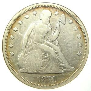 1871 SEATED LIBERTY SILVER DOLLAR $1   CERTIFIED ANACS F12 DETAILS    COIN