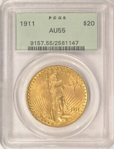 1911 $20 SAINT GAUDENS GOLD DOUBLE EAGLE COIN PCGS AU55 OLD GREEN HOLDER OGH
