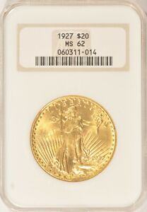 1927 $20 SAINT GAUDENS GOLD DOUBLE EAGLE COIN NGC MS62 NO LINE FATTY
